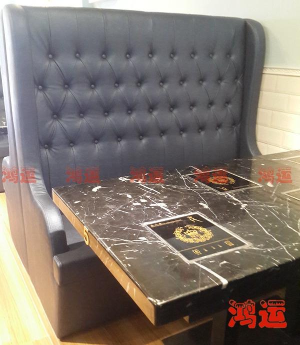 简欧式风格软包餐厅卡座沙发图片